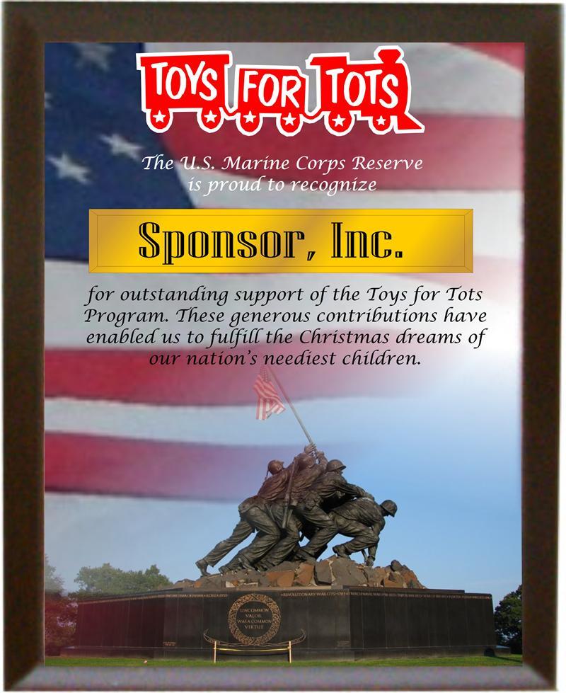 Toys For Tots Plaques : T s sponsor award quot