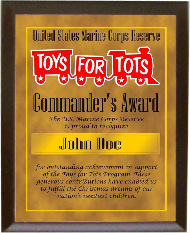 Blank Certificate Toys For Tots : T s award plaque for volunteers quot