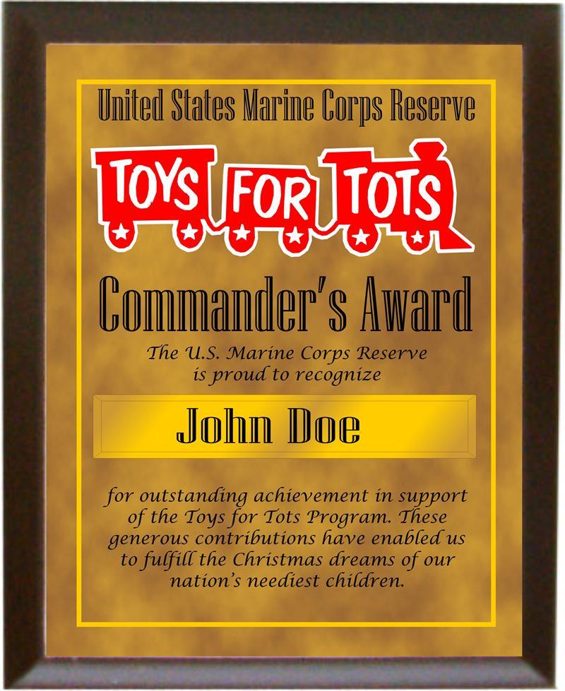 Toys For Tots Volunteers : T s award plaque for volunteers quot x